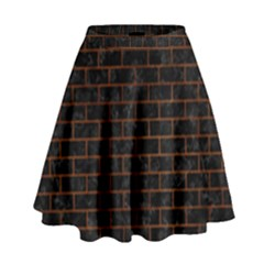 BRK1 BK MARBLE BURL High Waist Skirt