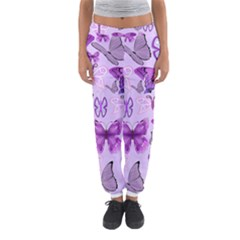 Purple Awareness Butterflies Women s Jogger Sweatpants