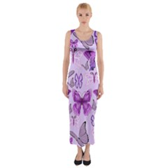 Purple Awareness Butterflies Fitted Maxi Dress
