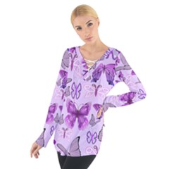 Purple Awareness Butterflies Women s Tie Up Tee