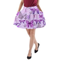 Purple Awareness Butterflies A-Line Pocket Skirt