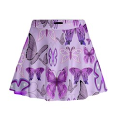 Purple Awareness Butterflies Mini Flare Skirt