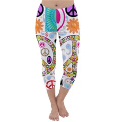 Peace Collage Capri Winter Leggings