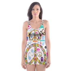 Peace Collage Skater Dress Swimsuit