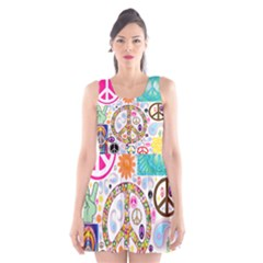 Peace Collage Scoop Neck Skater Dress