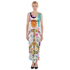 Peace Collage Fitted Maxi Dress