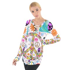 Peace Collage Women s Tie Up Tee
