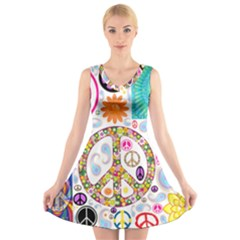 Peace Collage V-Neck Sleeveless Skater Dress