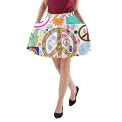 Peace Collage A-Line Pocket Skirt