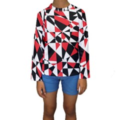 Shattered Life Tricolor Kid s Long Sleeve Swimwear