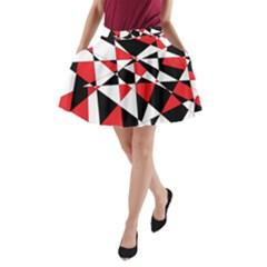 Shattered Life Tricolor A Line Pocket Skirt