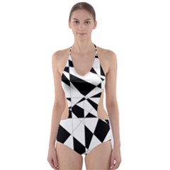 Shattered Life In Black & White Cut-Out One Piece Swimsuit