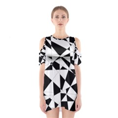 Shattered Life In Black & White Cutout Shoulder Dress