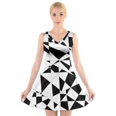 Shattered Life In Black & White V Neck Sleeveless Skater Dress