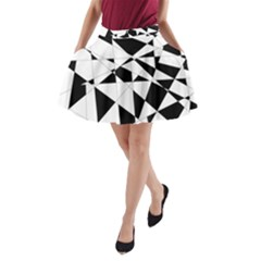 Shattered Life In Black & White A-Line Pocket Skirt