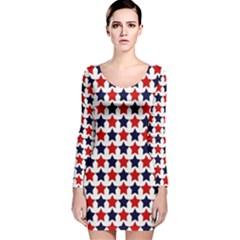 Patriot Stars Long Sleeve Velvet Bodycon Dress
