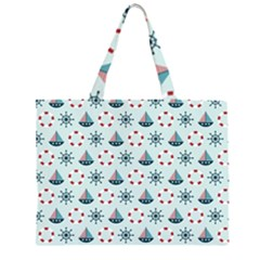 Nautical Elements Pattern Zipper Large Tote Bag