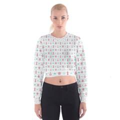 Seamless Nautical Pattern Women s Cropped Sweatshirt