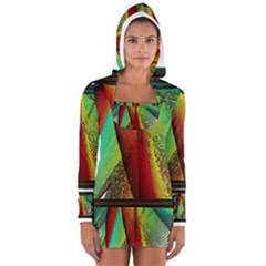 Stained Glass Window Women s Long Sleeve Hooded T-shirt