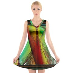 Stained Glass Window V-Neck Sleeveless Skater Dress