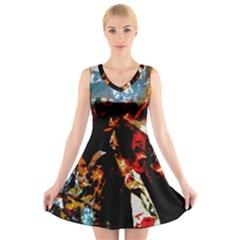 China Girl  V-Neck Sleeveless Skater Dress