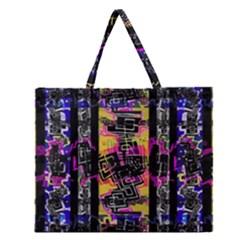 Urban Tribal Stripes Zipper Large Tote Bag