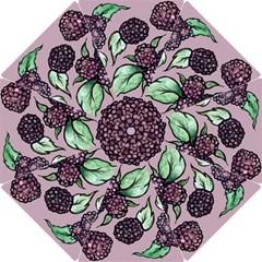 Black Raspberry Fruit Purple Pattern Hook Handle Umbrellas (Medium)