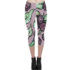 Black Raspberry Fruit Purple Pattern Capri Leggings