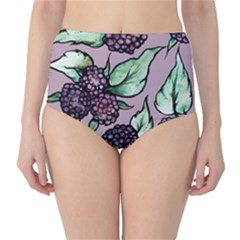 Black Raspberry Fruit Purple Pattern High Waist Bikini Bottoms