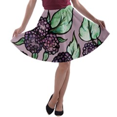Black Raspberry Fruit Purple Pattern A Line Skater Skirt