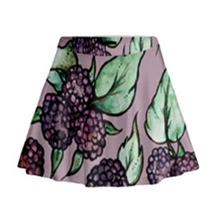 Black Raspberry Fruit Purple Pattern Mini Flare Skirt
