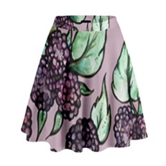 Black Raspberry Fruit Purple Pattern High Waist Skirt
