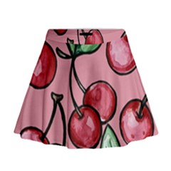 Cherry Pattern Mini Flare Skirt