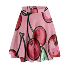 Cherry Pattern High Waist Skirt