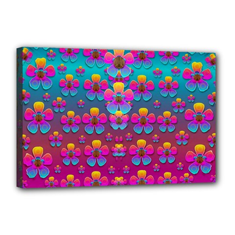 Freedom Peace Flowers Raining In Rainbows Canvas 18  X 12