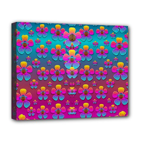 Freedom Peace Flowers Raining In Rainbows Deluxe Canvas 20  X 16