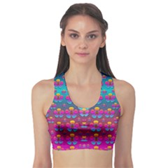 Freedom Peace Flowers Raining In Rainbows Sports Bra