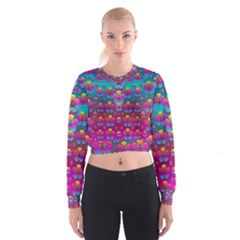 Freedom Peace Flowers Raining In Rainbows Women s Cropped Sweatshirt