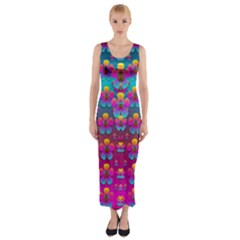 Freedom Peace Flowers Raining In Rainbows Fitted Maxi Dress