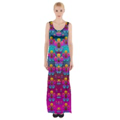 Freedom Peace Flowers Raining In Rainbows Maxi Thigh Split Dress
