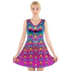 Freedom Peace Flowers Raining In Rainbows V Neck Sleeveless Skater Dress
