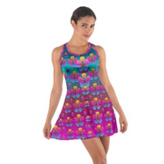 Freedom Peace Flowers Raining In Rainbows Racerback Dresses