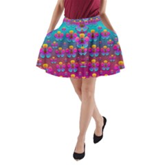 Freedom Peace Flowers Raining In Rainbows A-Line Pocket Skirt