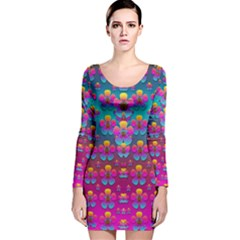 Freedom Peace Flowers Raining In Rainbows Long Sleeve Velvet Bodycon Dress