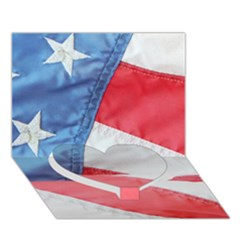 Folded American Flag Heart Bottom 3d Greeting Card (7x5)