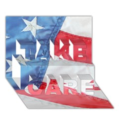 Folded American Flag Take Care 3d Greeting Card (7x5)