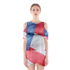 Folded American Flag Cutout Shoulder Dress