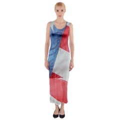 Folded American Flag Fitted Maxi Dress