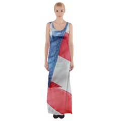 Folded American Flag Maxi Thigh Split Dress