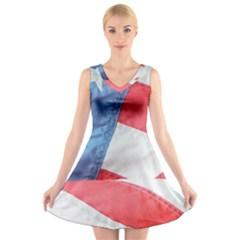 Folded American Flag V-Neck Sleeveless Skater Dress